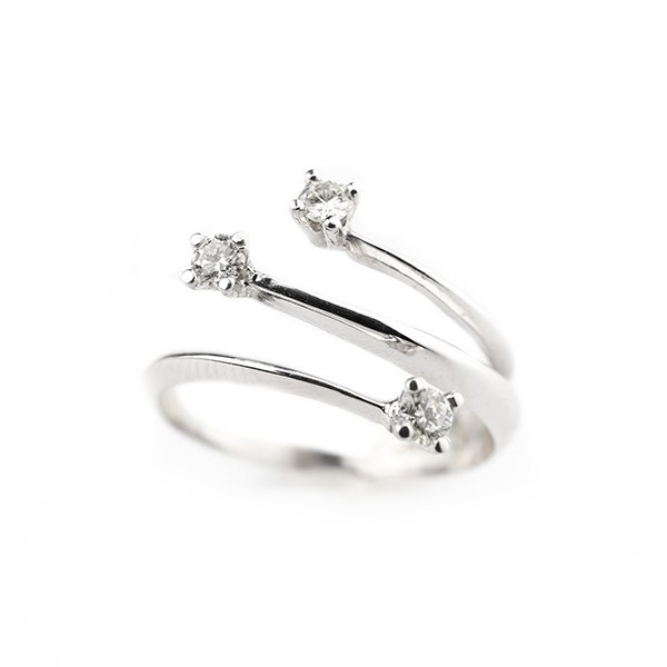 Diamond ring with 0.24ct diamonds g vvs in 18kt white gold