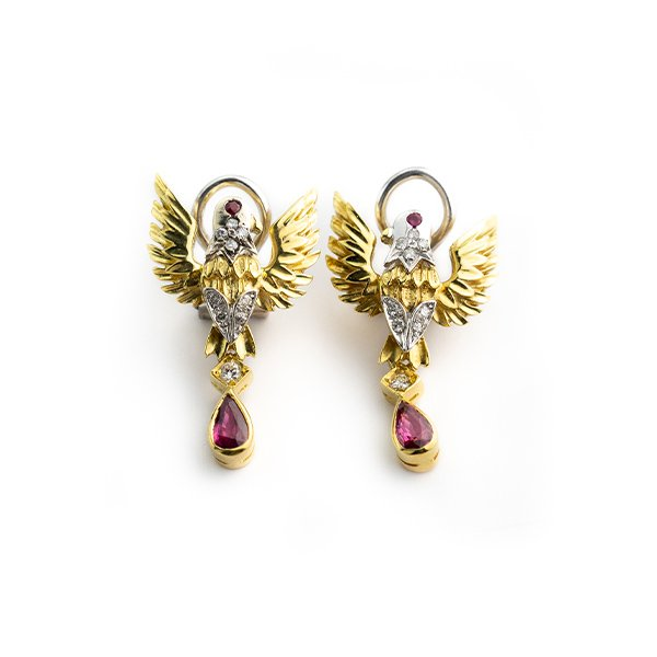 Earrings 18k gold eagle with ruby and diamonds
