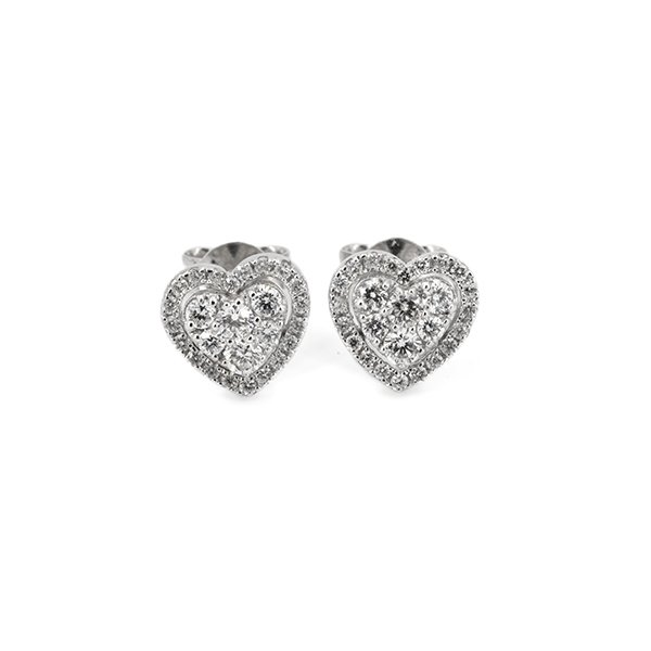 Heart earrings in gold and diamonds
