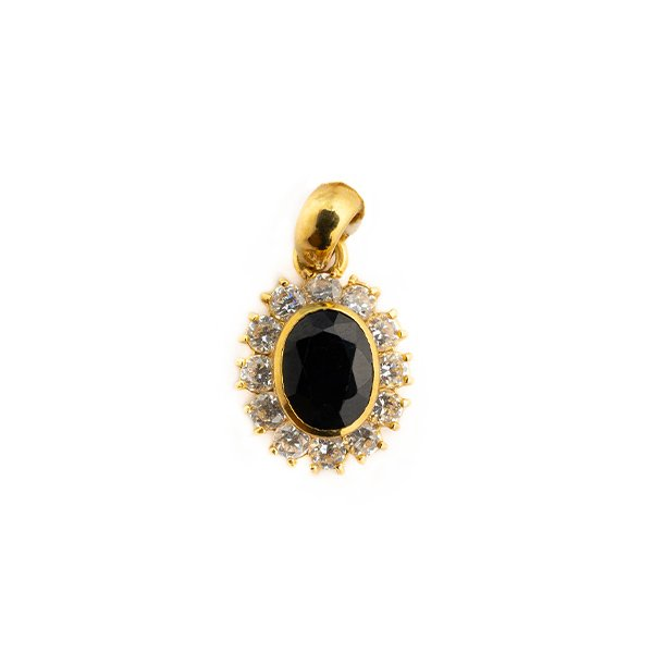 Gold pendant with central black zircon and white side zircons