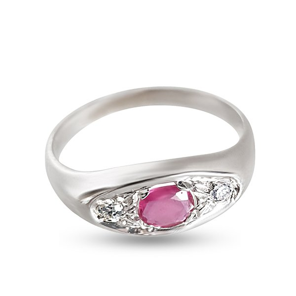 18k gold men's ring with ruby and diamonds