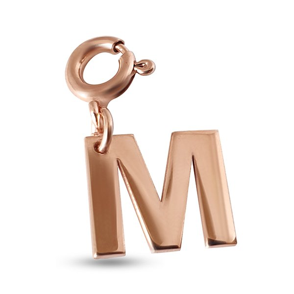 Initial charm pendant letter M in silver
