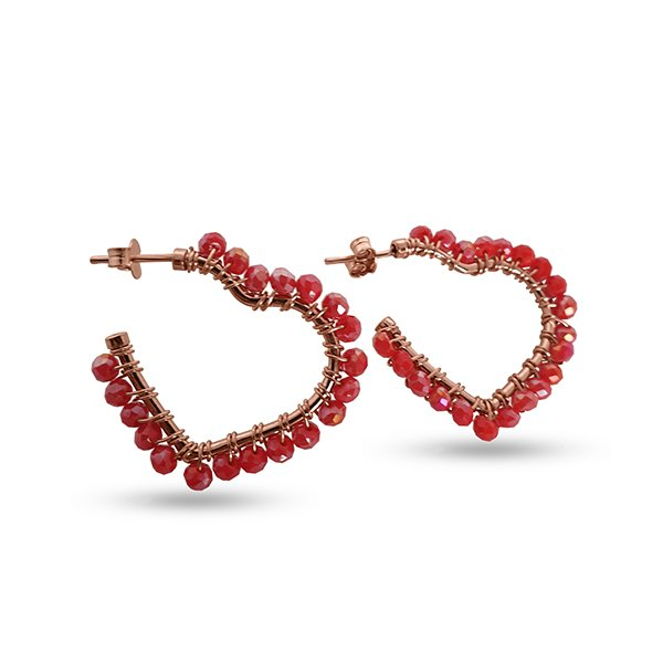 Silver hoops with red stones
