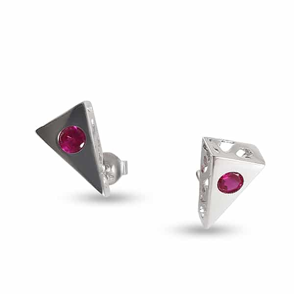 Sterling silver lobe earrings with zircon