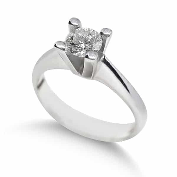 18k white gold solitaire ring with 0.30ct diamond