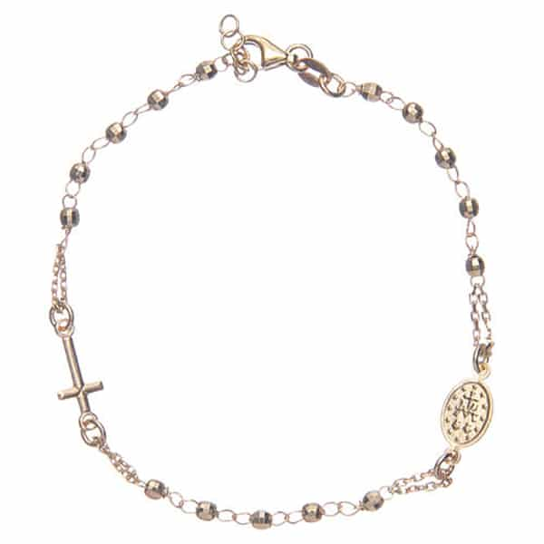 Rosary bracelet made of sterling silver with 3mm spheres, gold finished.